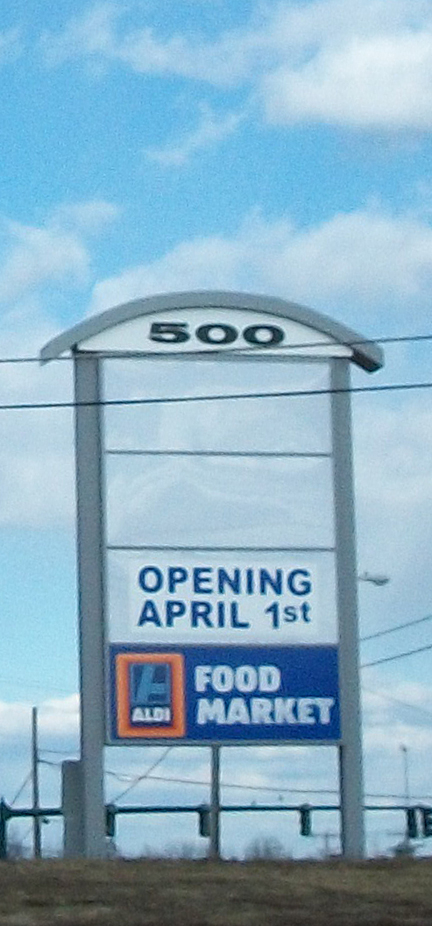 Aldi opens April 1st -- No Foolin'