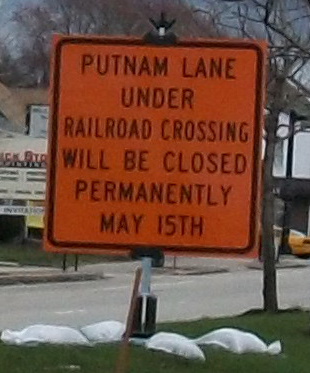 Putnam Lane closes May 15