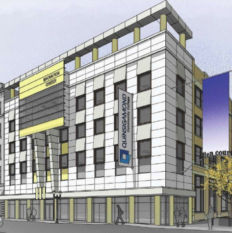 Proposed T & G building facade with optimistic banner